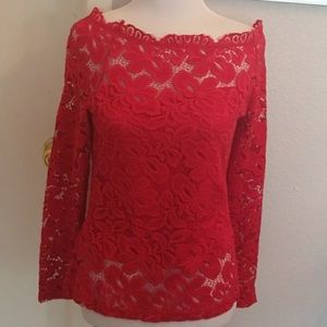 Tops - Sexy red lace top